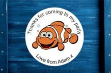Personalised Nemo Fish Birthday Party Gift Bag Sticker