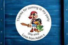 Personalised Pirate Birthday Gift Bag Sticker