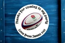 Personalised Rugby Ball Party Gift Bag Sticker (2)