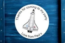 Personalised Space Shuttle Round Gift Bag Sticker
