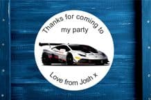 Personalised Sports Car Party Gift Bag Sticker
