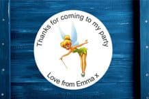 Personalised Tinker Bell Round Gift Bag Sticker