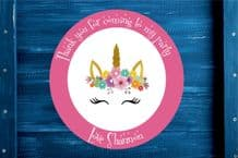 Personalised Unicorn Head Party Gift Bag Sticker