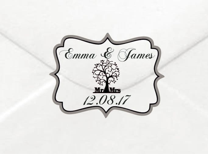 Personalised Wedding Love Tree Stickers Envelopes Labels