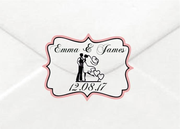 Personalised Wedding Mr & Mrs Sticker/Label Envelopes