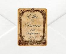 Personalised Wedding Old Style Stickers/Labels Envelopes Seals in 3 sizes
