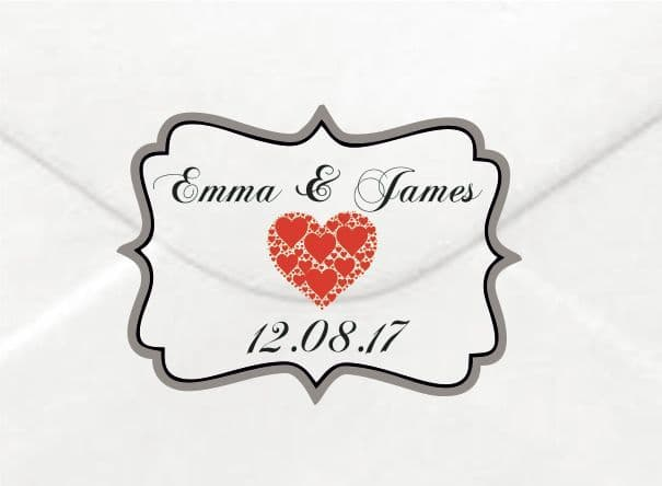 Personalised Wedding Red Heart Sticker/Label Envelopes