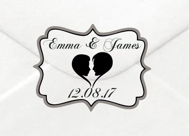 Personalised Wedding Silhouette Stickers/Label Envelopes