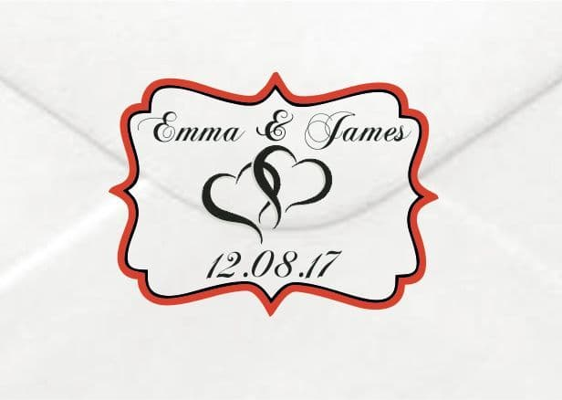 Personalised Wedding Two Hearts Sticker/Label Envelopes