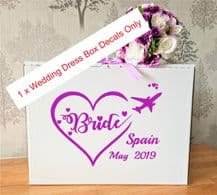 Wedding Dress Airline Hand Luggage Box, Vinyl Decal x 1 Bride withHeart