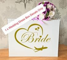 Wedding Dress Airline Hand Luggage Box, Vinyl Decal x 1 Bride withPlane at the bottom