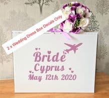 Wedding Dress Airline Hand Luggage Box, Vinyl Decal x 2 Bride withPlane