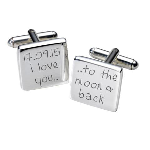 Personalised I Love You to the Moon and Back - Square Cufflinks