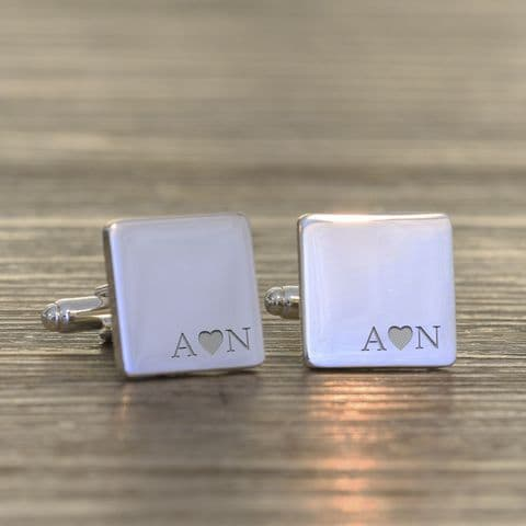 Personalised Initials with Heart Cufflinks
