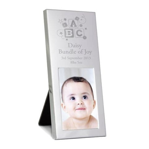 Personalised ABC Small Silver 3x2 Photo Frame