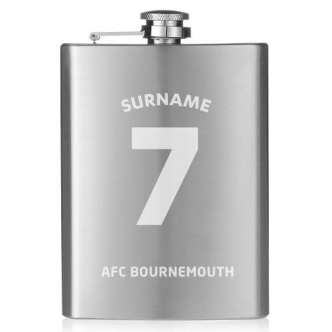 Personalised AFC Bournemouth Shirt Hip Flask