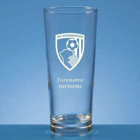 Personalised AFC Bournemouth Straight Sided Pint Beer Glass