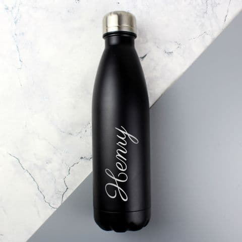 Personalised Black Metal Insulated Drink Bottle