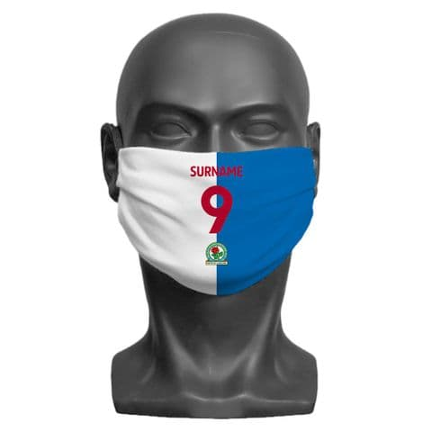 Personalised Blackburn Rovers FC Back of Shirt Adult Face Covering / Mask