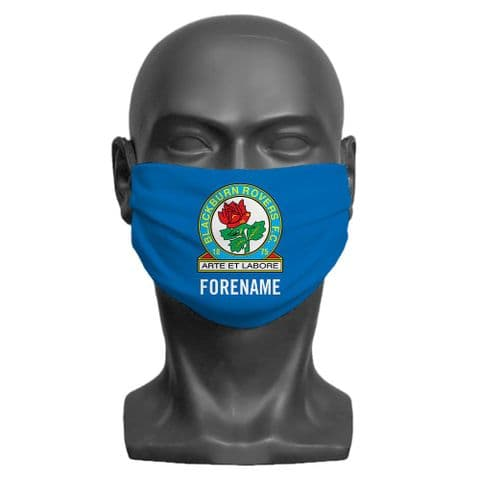 Personalised Blackburn Rovers FC Crest Adult Face Covering / Mask