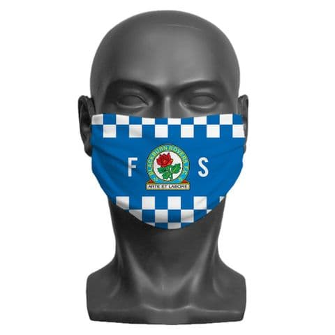 Personalised Blackburn Rovers FC Initials Adult Face Covering / Mask