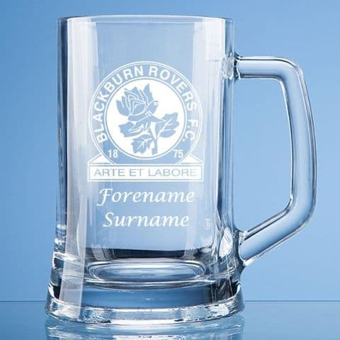 Personalised Blackburn Rovers FC Pint Glass Tankard