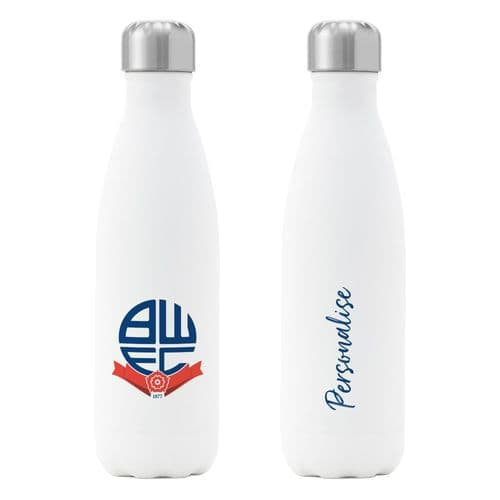 Personalised Bolton Wanderers FC Crest Insulated Water Drink Bottle
