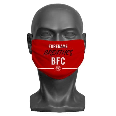 Personalised Brentford FC Breathes Adult Face Covering / Mask