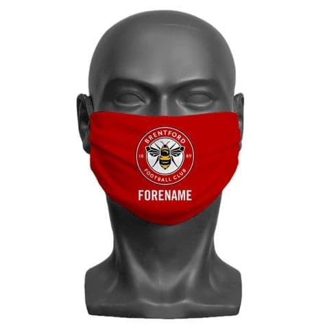 Personalised Brentford FC Crest Adult Face Covering / Mask