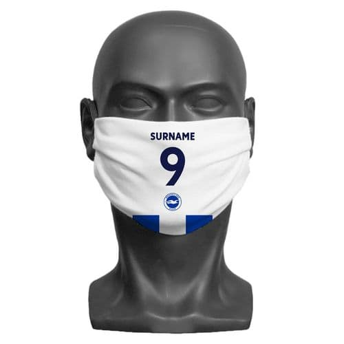 Personalised Brighton & Hove Albion FC Back of Shirt Adult Face Covering / Mask