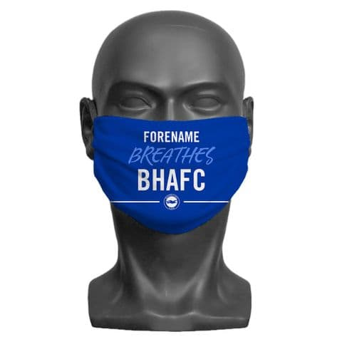 Personalised Brighton & Hove Albion FC Breathes Adult Face Covering / Mask