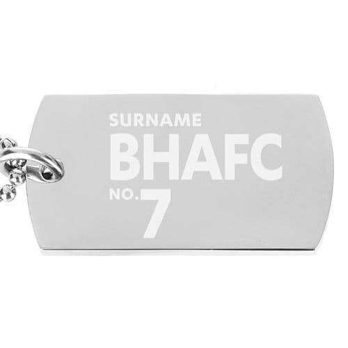 Personalised Brighton & Hove Albion FC Number Dog Tag Pendant
