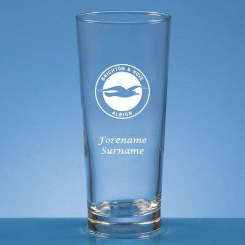 Personalised Brighton & Hove Albion FC Straight Sided Pint Beer Glass