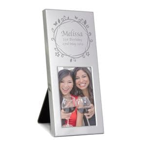Personalised Butterfly Swirl 3x2 Silver Photo Frame