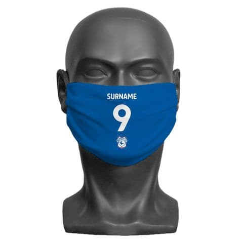 Personalised Cardiff City FC Back of Shirt Adult Face Covering / Mask