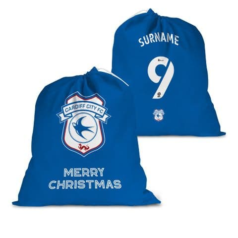 Personalised Cardiff City FC Back of Shirt Santa Sack