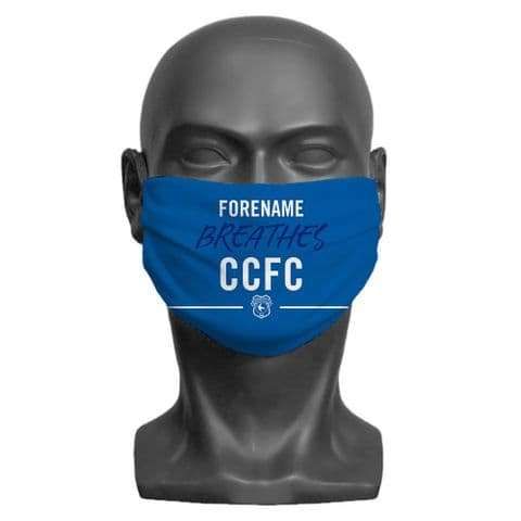 Personalised Cardiff City FC Breathes Adult Face Covering / Mask
