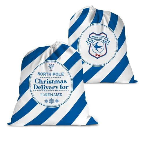 Personalised Cardiff City FC Christmas Delivery Santa Sack