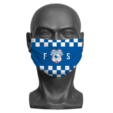 Personalised Cardiff City FC Initials Adult Face Covering / Mask