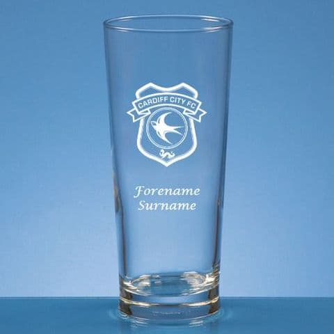 Personalised Cardiff City FC Straight Sided Pint Beer Glass