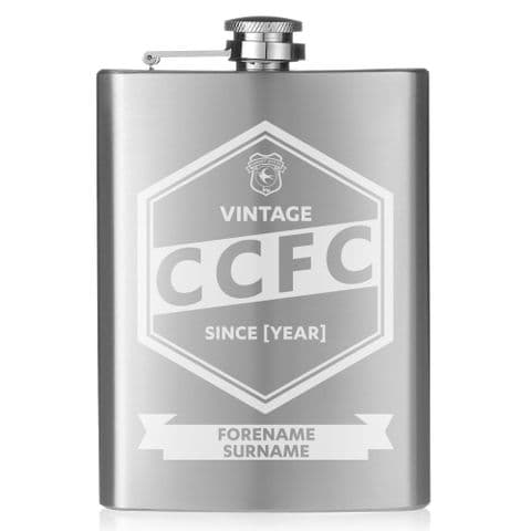 Personalised Cardiff City FC Vintage Hip Flask