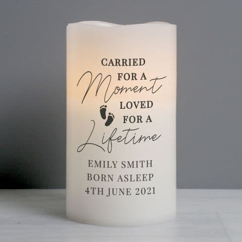 Personalised Carried For A Moment LED Candle