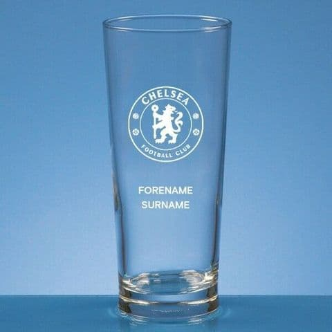 Personalised Chelsea FC Straight Sided Pint Beer Glass