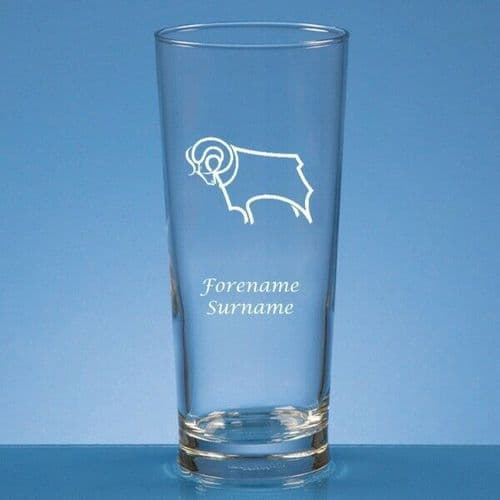 Personalised Derby County FC Straight Sided Pint Beer Glass