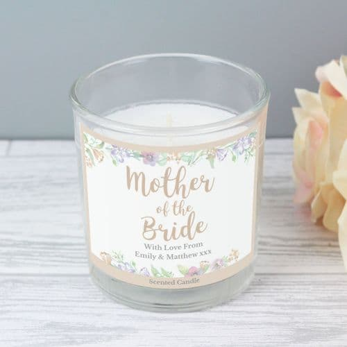 Personalised Floral Watercolour Mother of the Bride Wedding Scented Jar Candle