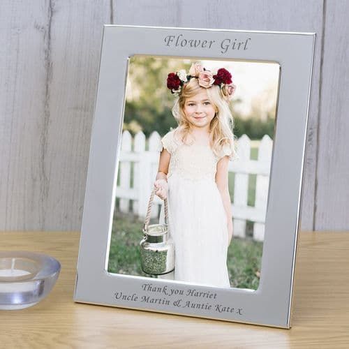 Personalised  Flower Girl Silver Plated Photo Frame 6x4 or 5x7, Portrait or Landscape