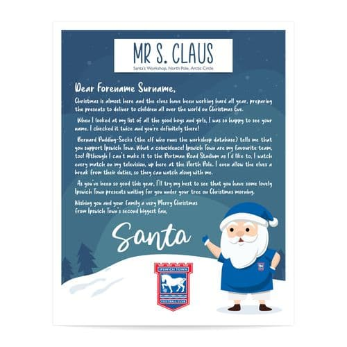 Personalised Ipswich Town FC Letter from Santa Father Christmas