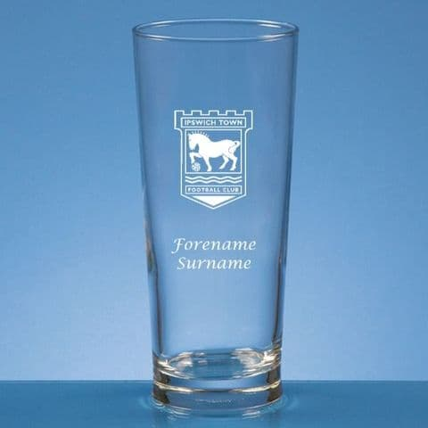 Personalised Ipswich Town FC Straight Sided Pint Beer Glass