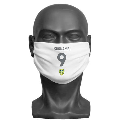 Personalised Leeds United FC Back of Shirt Adult Face Covering / Mask
