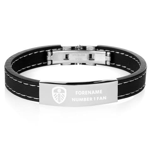 Personalised Leeds United FC Steel and Rubber Bracelet